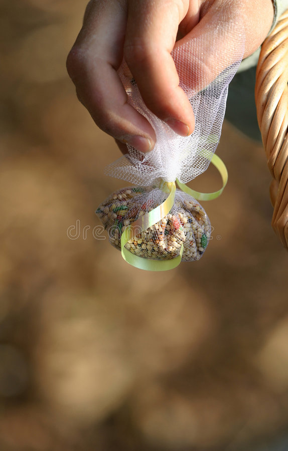 Wedding Bird Seed Throw. A young boys hand holds a wrapped package of bird seed for the end of the wedding ceremony. The seed is wrapped in a white throw bag and stock photos