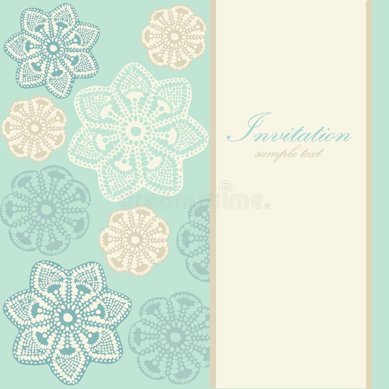 Wedding birthday card or invitation with abstract lace floral background, greeting postcard, illustration. Cute wedding birthday christmas card or invitation stock illustration