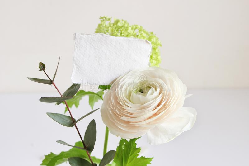 Wedding or birthday mock-up scene with floral bouquet of Persian buttercup, Ranunculus flower and eucalyptus leaves with. Blank paper greeting card, feminine stock photos