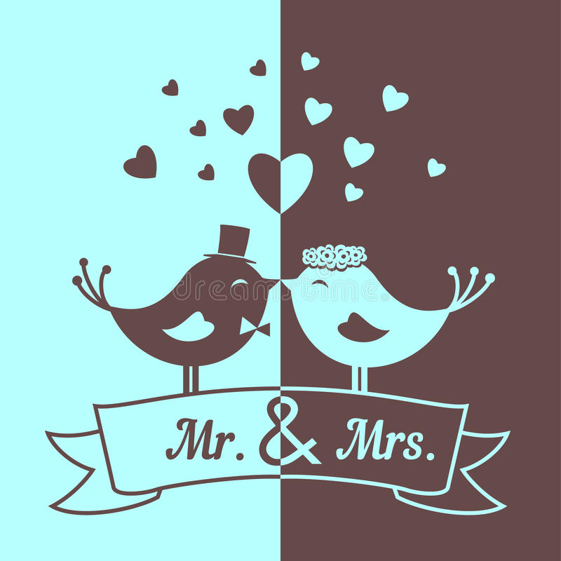 Wedding blue and brown birds vector illustration
