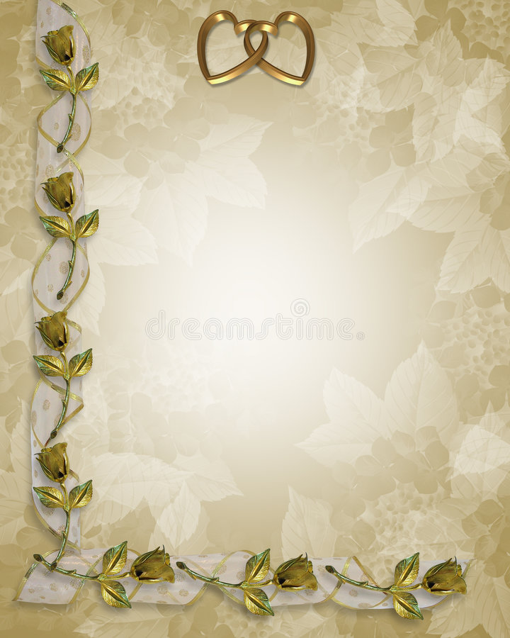 Wedding Border Gold Roses and ribbons royalty free illustration