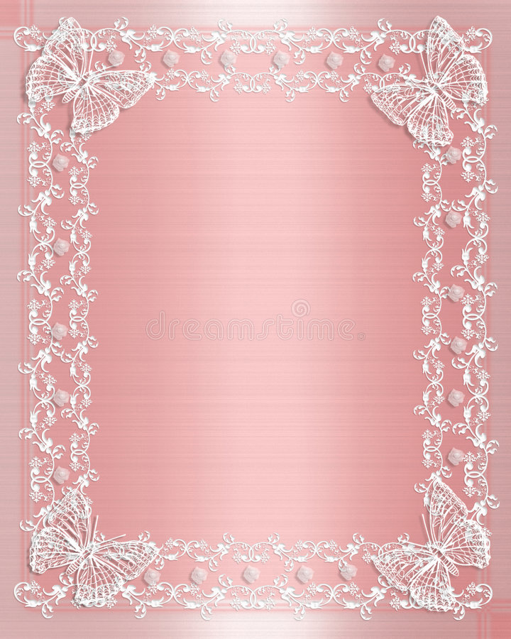 Wedding Border Pink Satin and lace vector illustration