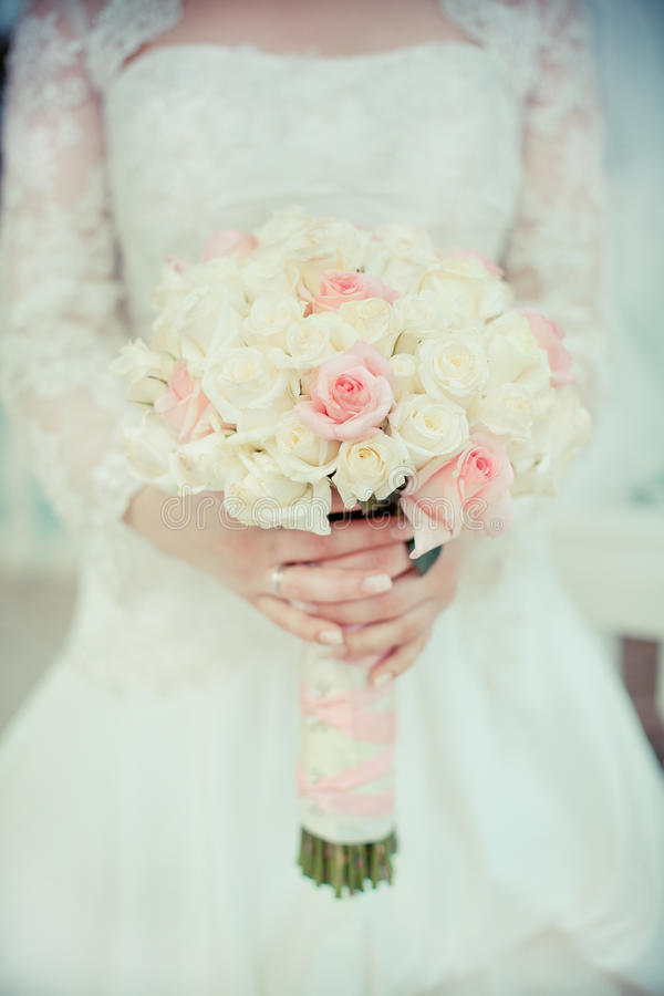 Wedding Bouqet. Of pink & white roses stock image