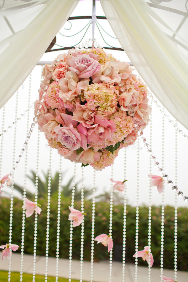 Wedding bouquet. With pink roses stock photos