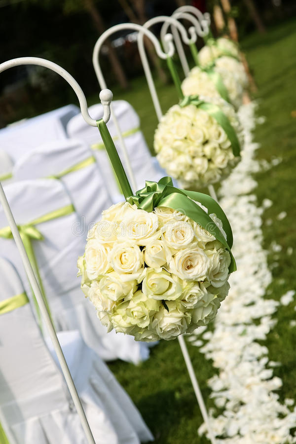 Wedding bouquet. At outdoor wedding stock images