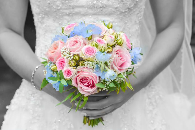 Wedding bouquet with blackground white and black from bride stock image