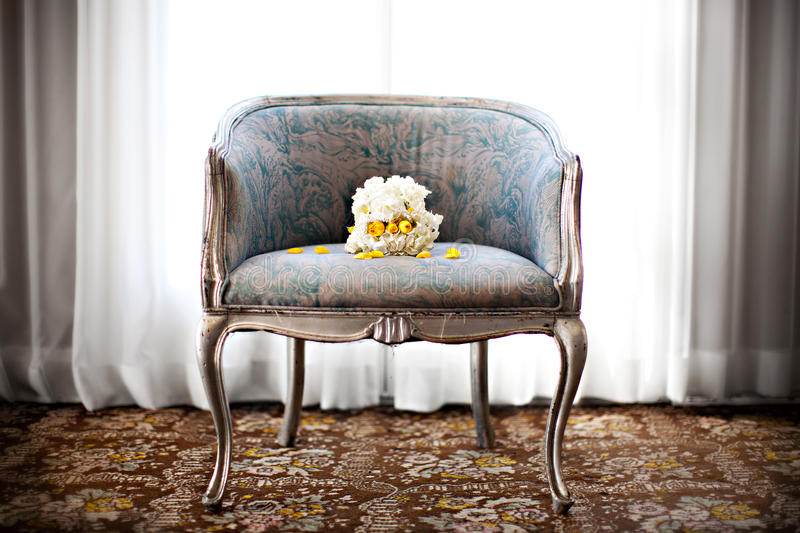 Download Wedding bouquet on a chair stock image. Image of pale - 28887893