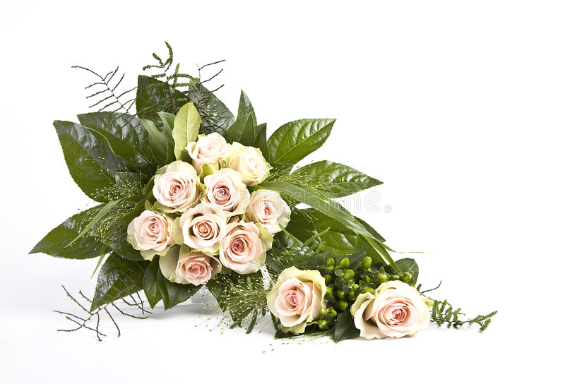 Wedding bouquet and corsage stock images