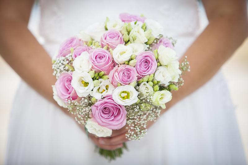 Wedding bouquet with couples royalty free stock images