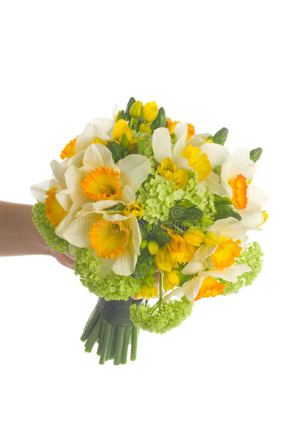 Wedding bouquet with daffodil stock photography