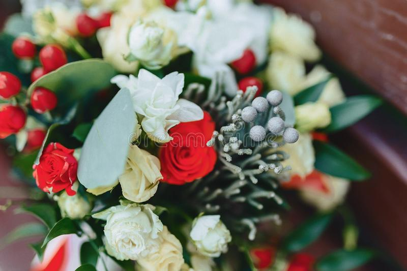 Wedding bouquet and wedding decoration, flowers and wedding floral arrangements. At party royalty free stock images