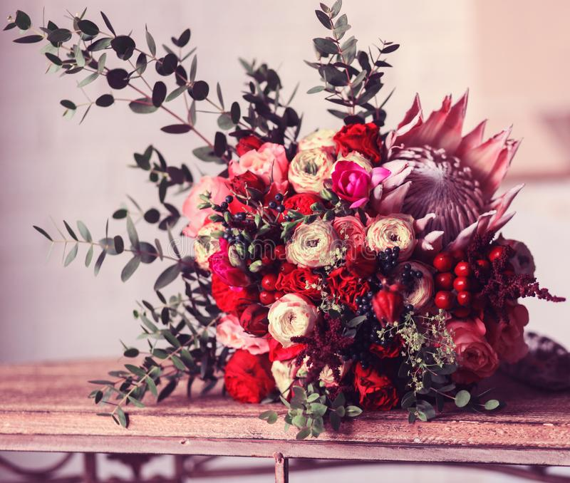 Wedding bouquet. Of different colorful flowers stock photo
