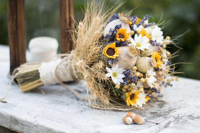 Wedding Bouquet Of Dry Flowers Stock Photo - Image of beautiful ...