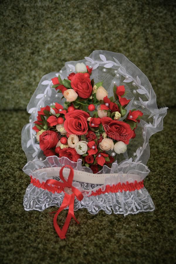 Wedding bouquet of flowers, wedding theme, symbolic of love and romance stock photo