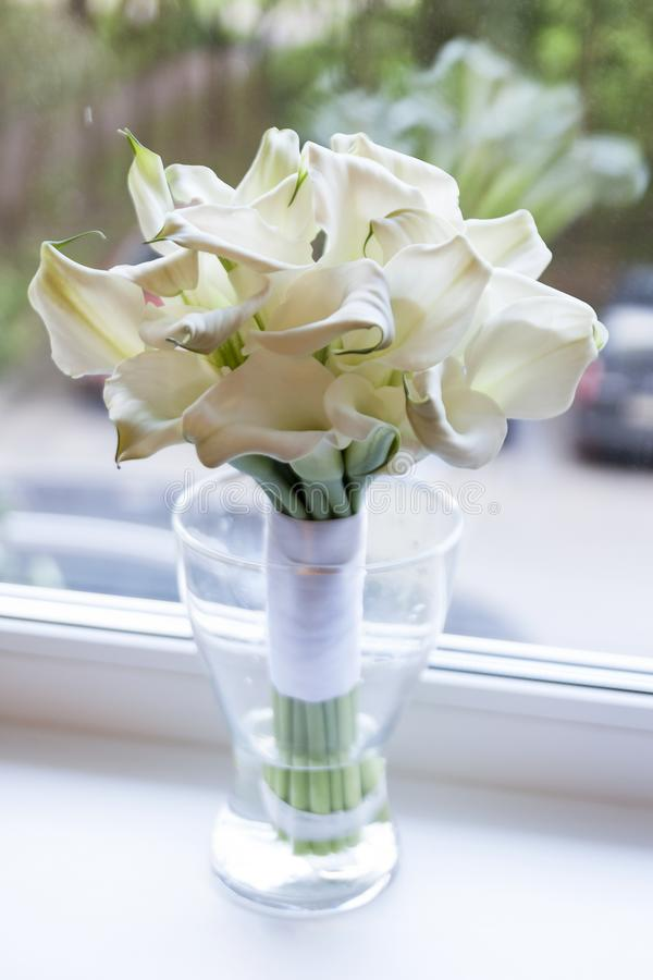 Wedding bouquet of flowers. White Calla lilies. The bouquet is in a glass vase royalty free stock photography