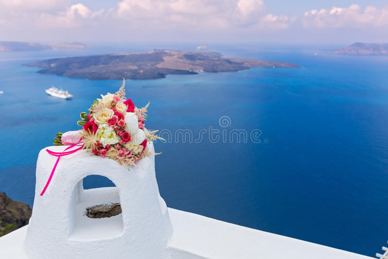 Wedding bouquet , Greece, Santorini stock image