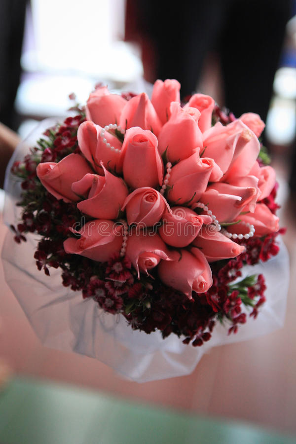 Wedding Bouquet on Hand stock image