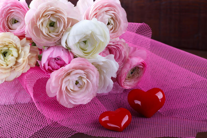 Wedding bouquet with hearts stock photography