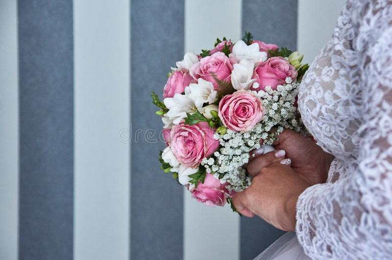 Wedding bouquete. A wedding bouquet, lots of beatyfull flowers royalty free stock photos