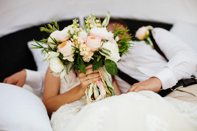 Download Wedding Bouquet Orchids And Peonies Stock Photo