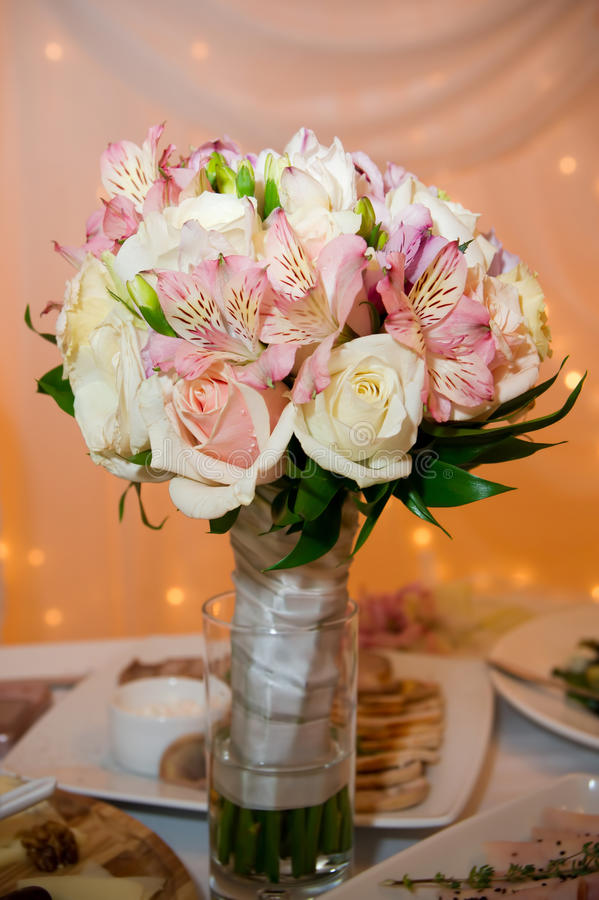 Wedding bouquet of orchids and roses royalty free stock images