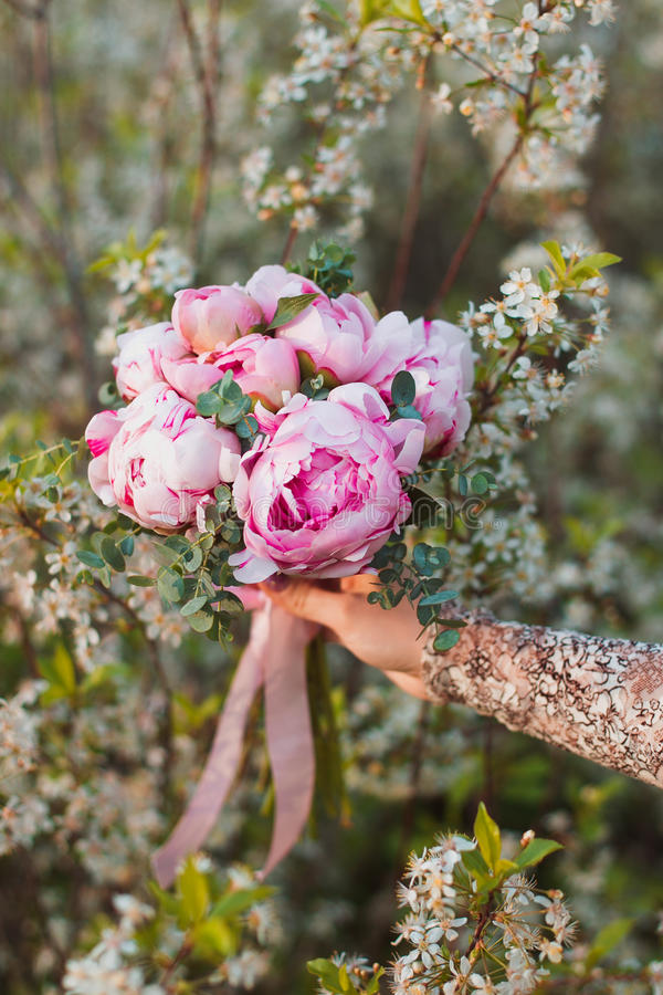 Wedding bouquet of pink peonies royalty free stock photography