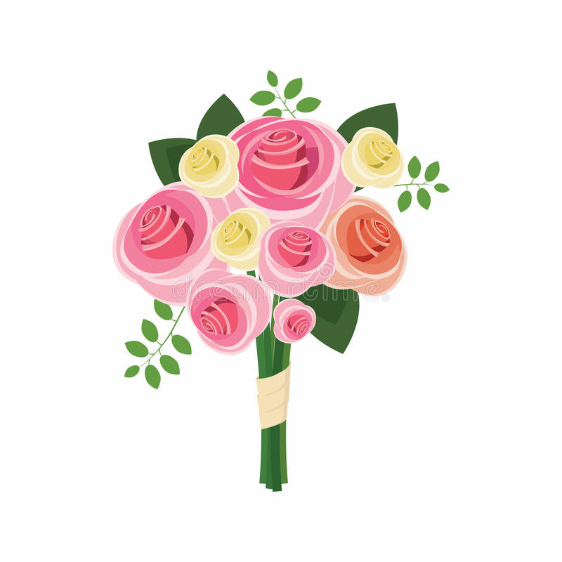 Wedding bouquet of pink roses icon, cartoon style. Wedding bouquet of pink roses icon in cartoon style on a white background stock illustration