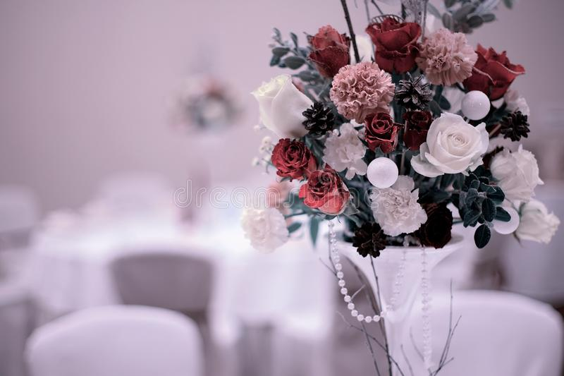 Wedding bouquet with red rose on the table royalty free stock images