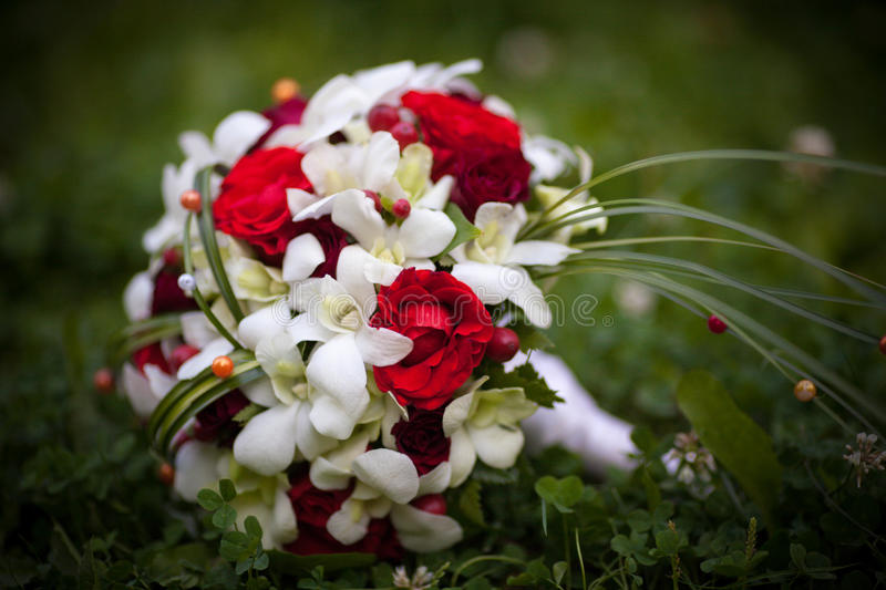 Wedding bouquet of red roses lying on the grass royalty free stock photography