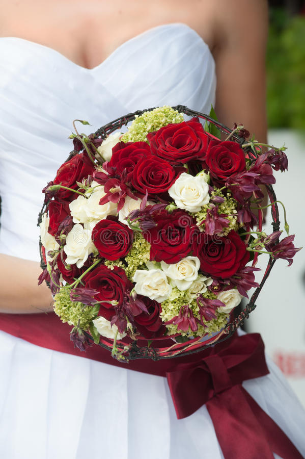 Wedding Bouquet With Red And White Roses Stock Photo - Image of ...