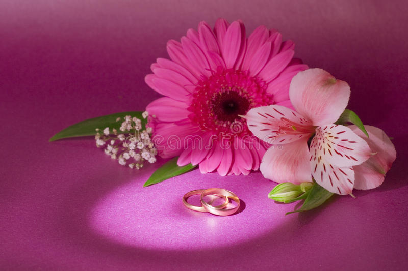 Wedding bouquet and ring stock images