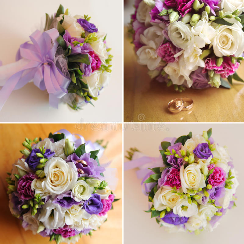 Wedding bouquet. Rings and bow tie stock photo