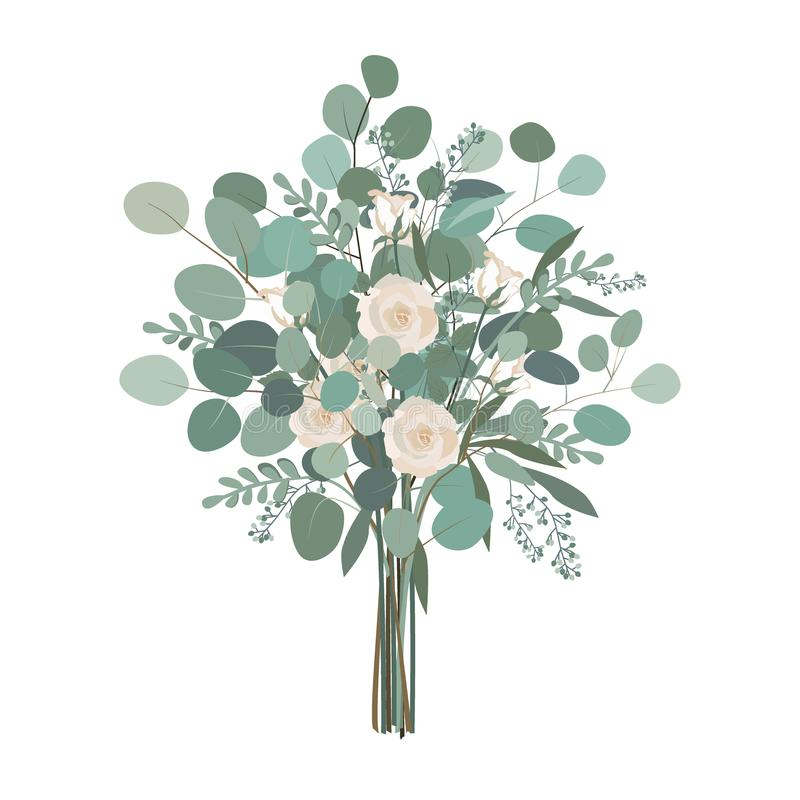 Wedding bouquet with rose flowers, seeded and silver dollar eucalyptus greenery. stock illustration