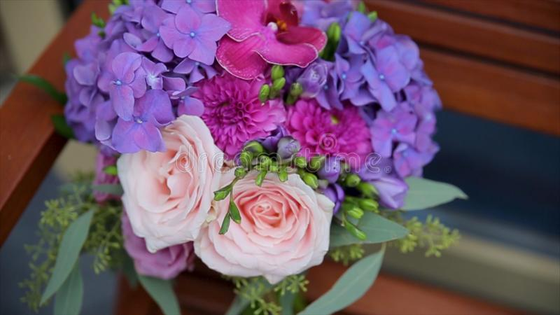 Wedding Bouquet Of Roses. Bride`s Bouquet On Wedding Day. Bouquet Of ...