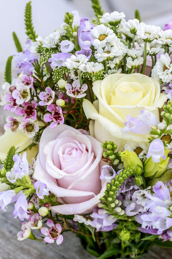 Wedding bouquet with roses, chrysanthemum and Anthriscus sylvestris royalty free stock images