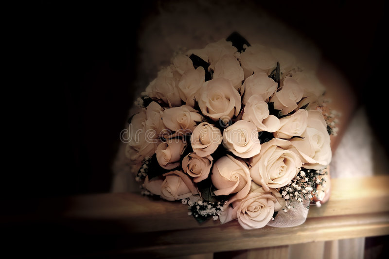 Wedding bouquet in sepia stock photography