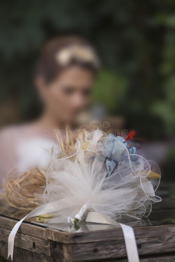 Wedding Bouquet on the table royalty free stock photos