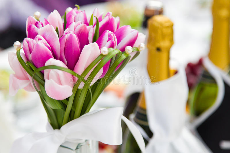 Wedding bouquet tulips. Wedding flowers bouquet tulips a decor in table closeup stock photo