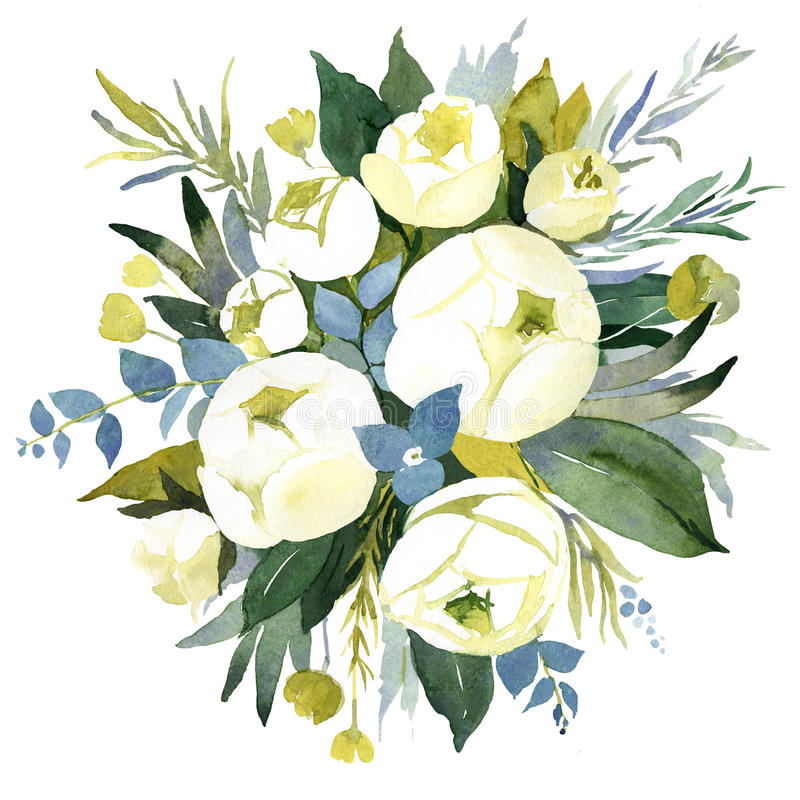 Wedding bouquet in white and blue watercolor royalty free illustration