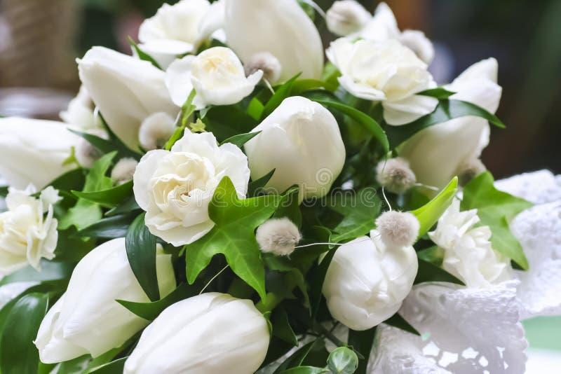 Wedding Bouquet Of White Flowers Stock Photo