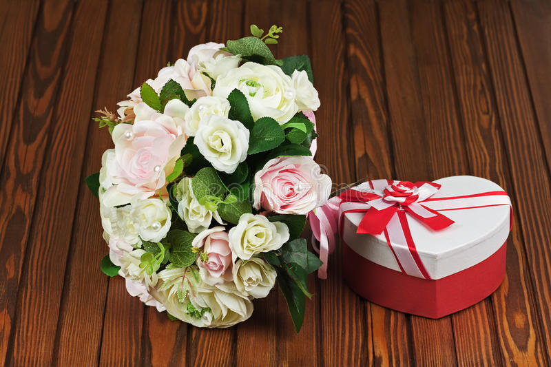 Download Wedding Bouquet From White And Pink Roses On Wooden Background. Stock Image - Image: 40792639