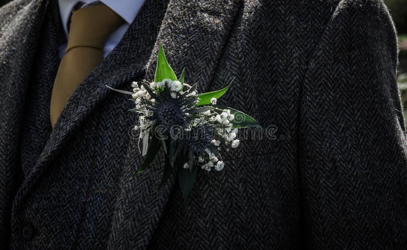 Wedding - Boutonnière Flower on Grooms Jacket stock photos