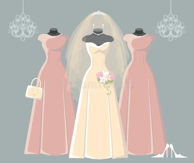 Wedding Bridal And Bridesmaid Dresses Set Stock Vector ...