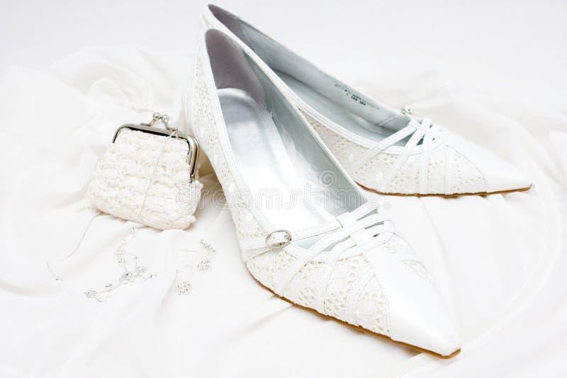 Wedding bridal shoes royalty free stock photography