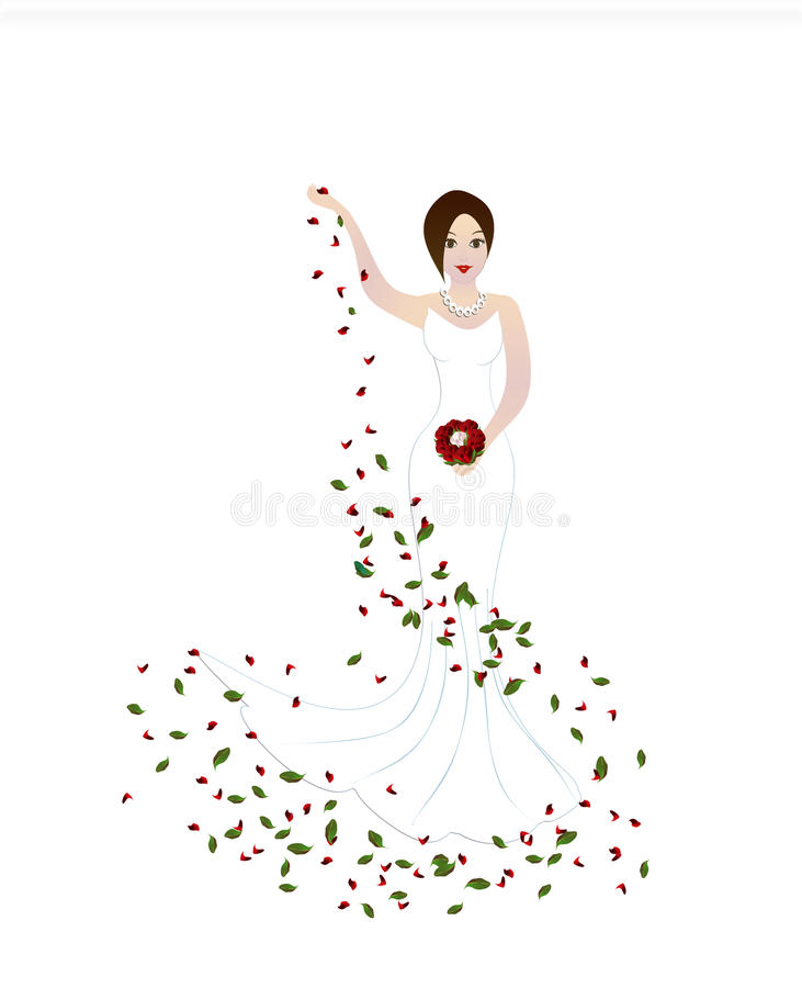 Wedding bride. Happy beautiful bride with bouquete and petals on white background royalty free illustration