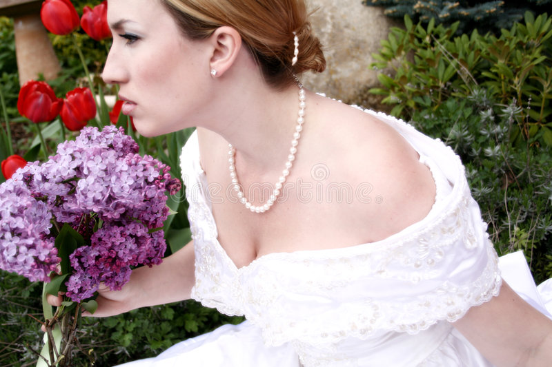 Wedding Bride 4. Angry looking Bride glares off into the distace royalty free stock photo