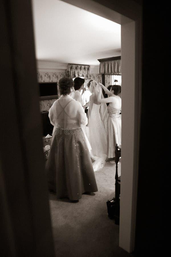Wedding- Bride before the big moment stock photos