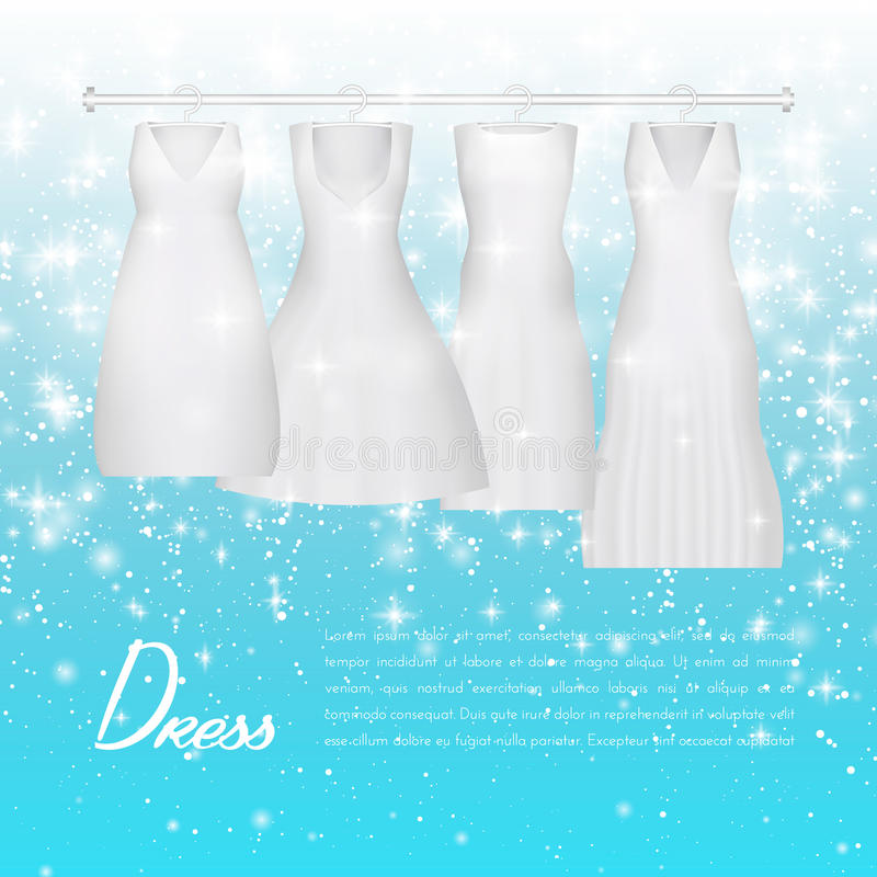 Wedding bride dress. Beautiful fashion white wedding gown. elegance woman evening clothes for party or event on vector illustration