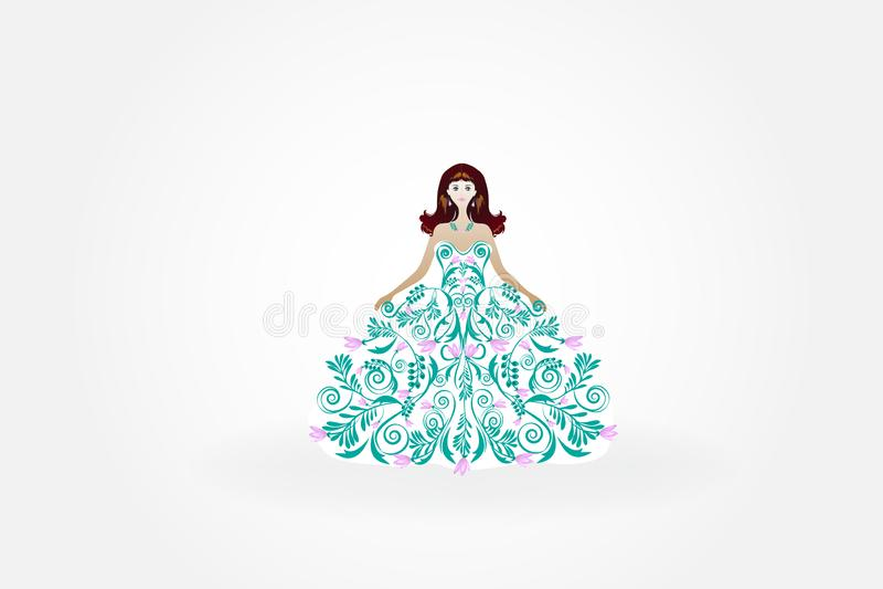 Wedding bride greeting card invitation stock illustration