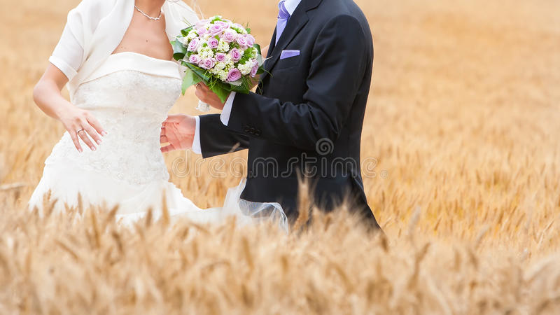 Bride and groom in the garden royalty free stock photo